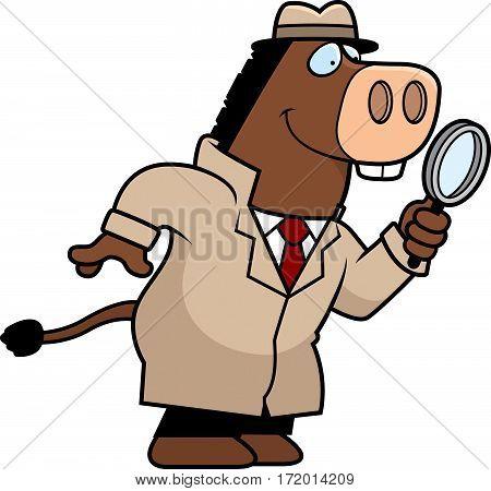 Cartoon Donkey Detective