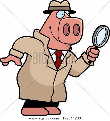 Cartoon Pig Detective
