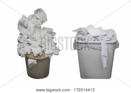 Piece of junk in the toilets isolated on white background with clipping path.