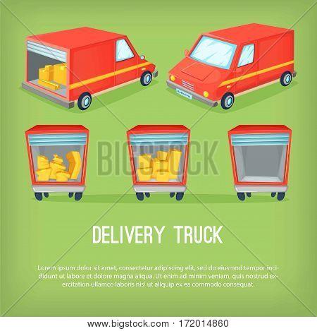 Cartoon delivery van vector illustration. Different perspectives of transportation truck