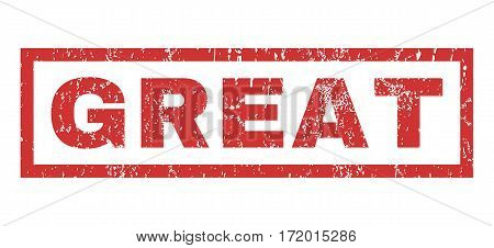 Great text rubber seal stamp watermark. Caption inside rectangular banner with grunge design and scratched texture. Horizontal vector red ink sign on a white background.
