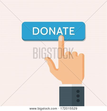 Hand in the suit presses donate button. Flat style vector illustration.