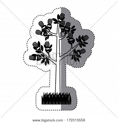 sticker black silhouette tree leafy with grass vector illustration