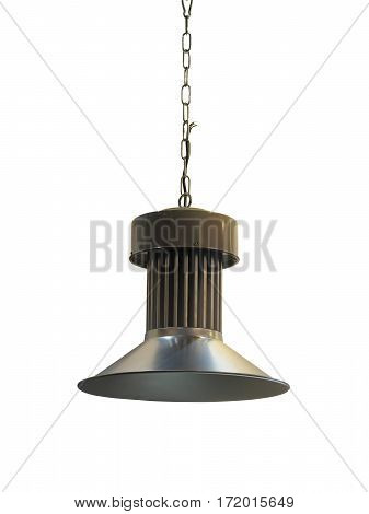 Green metallic lamp on chain isolated over white background