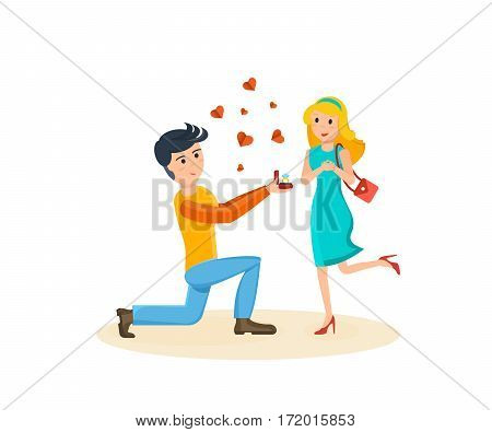 Happy couples in love concept. The young man makes a proposal to his beloved, girl delighted with surprise. Card for Valentine's Day. Vector illustration isolated on white background.