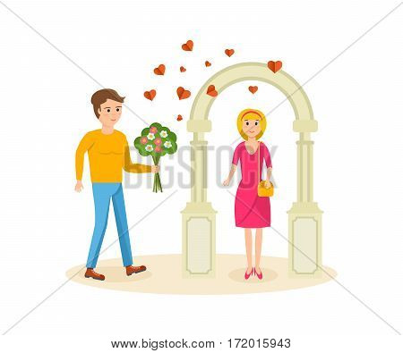 Happy couples in love concept. Man set up a meeting with girlfriend, she stands near the arch, gives her a bouquet of flowers. Card for Valentine's Day. Vector illustration isolated