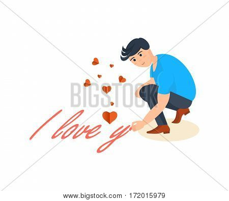 Happy couples in love concept. A young man writes a declaration of love on the pavement for a girlfriend. Card for Valentine's Day. Vector illustration isolated on white background.