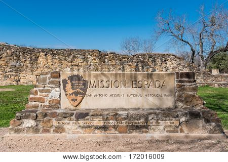 San Antonio United States: January 1 2017: Mission Espada Sign along the San Antonio Mission Trail