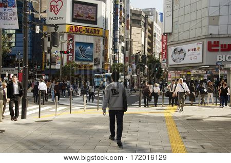 Japanese People Walking Crosswalk Traffic Road At Shinjuku City