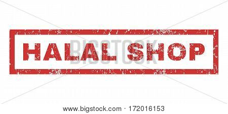 Halal Shop text rubber seal stamp watermark. Caption inside rectangular shape with grunge design and dirty texture. Horizontal vector red ink emblem on a white background.