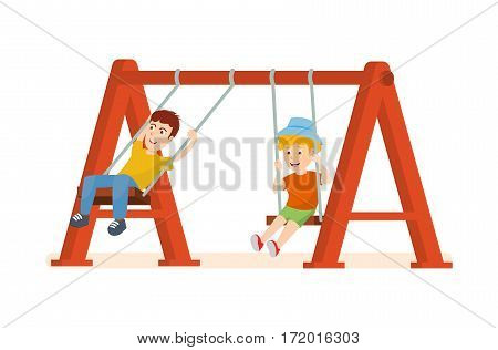 Kids on the playground concept. Young guys having fun and ride on a swing, spending holidays together, at an amusement park and attractions. Vector illustration isolated on white background.