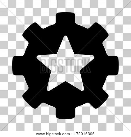 Star Favorites Options Gear vector icon. Illustration style is a flat iconic black symbol on a transparent background.