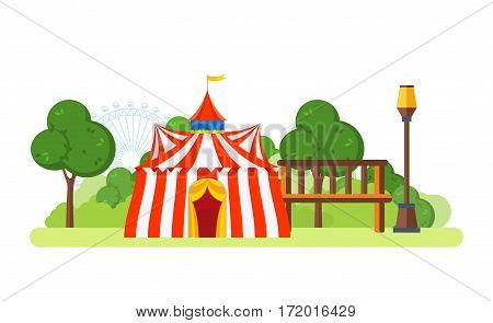 Circus chapiteau building located in the park and entertainment attractions, the main entrance to the premises. Vector illustration isolated on white background.