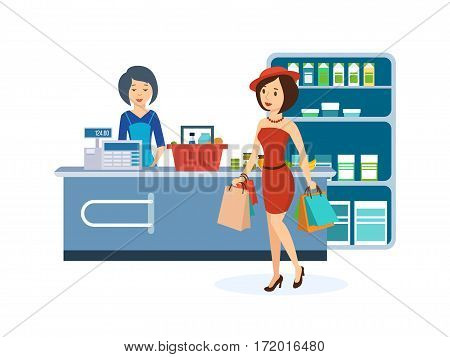 Stylish girl dressed in nice clothes, produce shopping at the grocery store, and in the hands holding the bag with goods. Vector illustration isolated on white background.