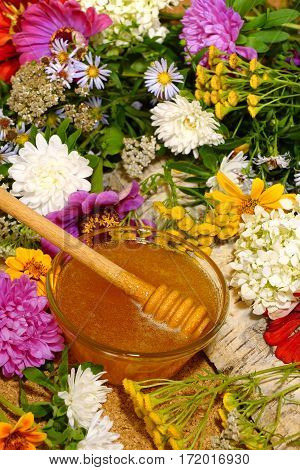 Flower honey in a glass bowl. Among the field and garden flowers. Still life