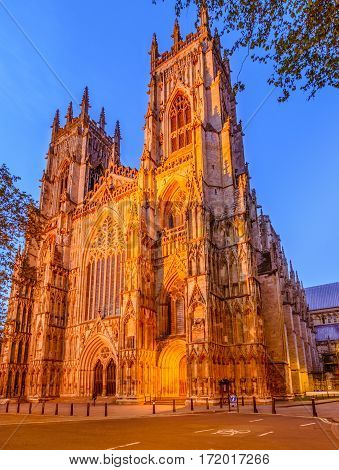 York Minster in the evening is the cathedral of York England and is one of the largest of its kind in Northern Europe
