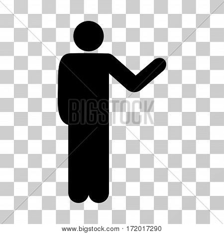 Talking Man vector pictogram. Illustration style is a flat iconic black symbol on a transparent background.
