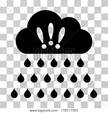 Thunderstorm Rain Cloud vector icon. Illustration style is a flat iconic black symbol on a transparent background.