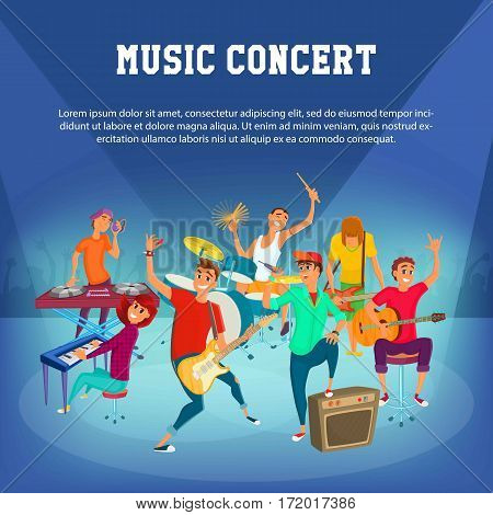 Cartoon Teenage Music Concert. Concept music character designe. vector illustration