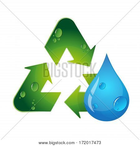 Recycling and water drop symbol design vector