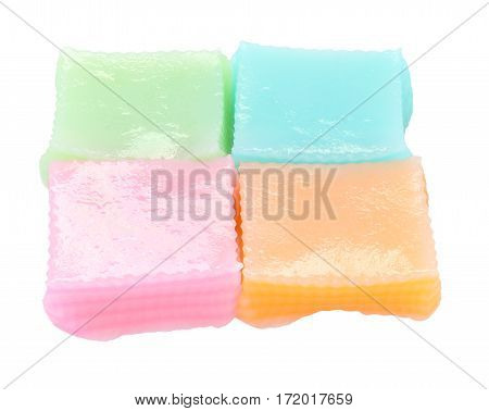 Series of multiple layer sweetmeat isolated on white background.