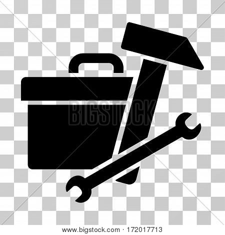 Toolbox vector pictograph. Illustration style is a flat iconic black symbol on a transparent background.