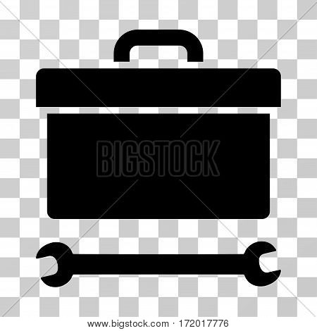 Toolbox vector icon. Illustration style is a flat iconic black symbol on a transparent background.