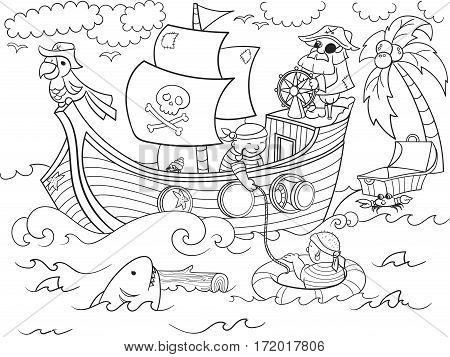 Pirates of the sea on merchant ships and seascape coloring illustration. Zentangle style pirate ship. Black-and-white line of the sea, animals, fish,  shark, and people
