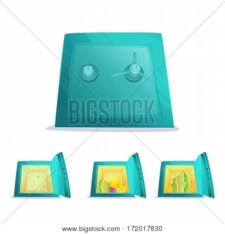 Set of cartoon safe boxes. Opened, closed, full and empty. Vector illustration