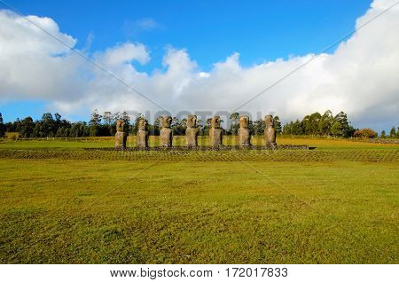 Long shot of the seven Moai at Ahu Akivi in Rapa Nui Easter Island in Chile South America
