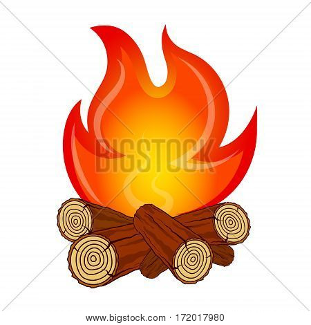 Fire on fire wood camping vector design