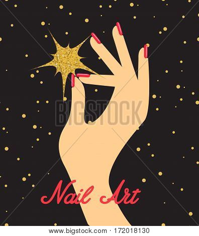 Woman hand with red fingernails. Gift certificate for nail salon.