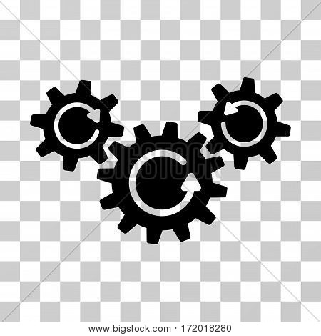 Transmission Wheels Rotation vector pictogram. Illustration style is a flat iconic black symbol on a transparent background.