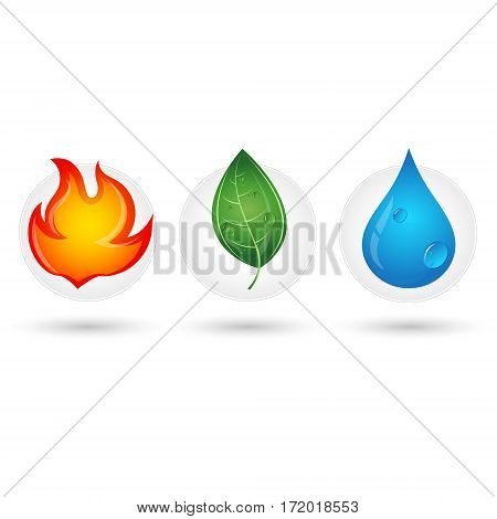 The fire drop and green leaf Renewable energy