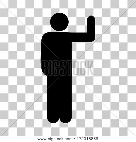 Vote Pose vector pictogram. Illustration style is a flat iconic black symbol on a transparent background.