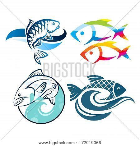 Fishes symbol set on the waves design