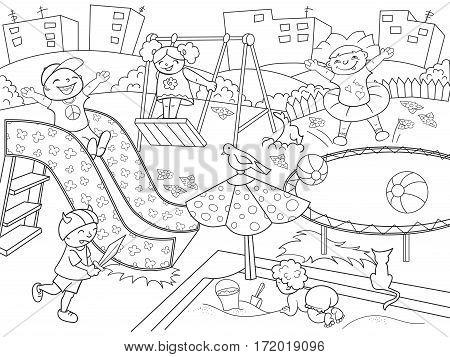 Childrens playground coloring. Vector illustration of black and white. Children, sand, slides, ball, bird, dog, cat, game background house grass bush flower swing sword
