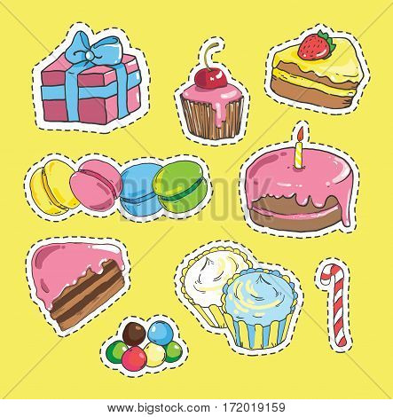 Fashion patch badges with candy, cake, jelly beans, gift
