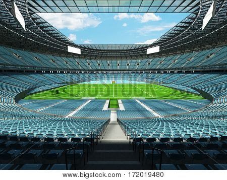 3D render of a round rugby stadium with sky blue seats and VIP boxes for hundred thousand people