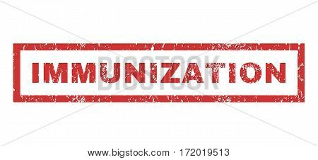 Immunization text rubber seal stamp watermark. Tag inside rectangular shape with grunge design and dirty texture. Horizontal vector red ink sticker on a white background.