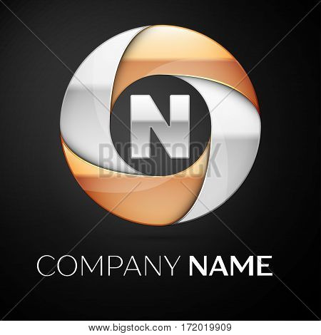 Letter N vector logo symbol in the colorful circle on black background. Vector template for your design