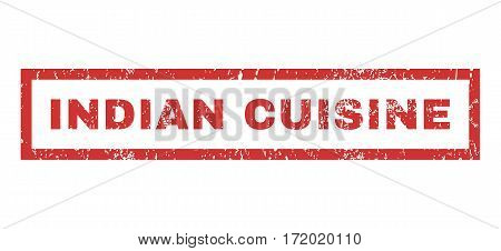 Indian Cuisine text rubber seal stamp watermark. Caption inside rectangular shape with grunge design and unclean texture. Horizontal vector red ink sign on a white background.