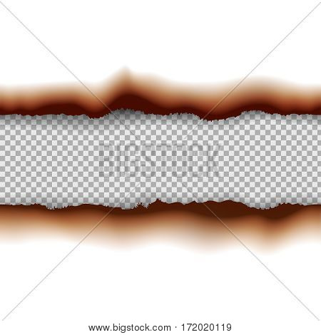 Vector burned paper edges seamless horizontal pattern banners or dividers isolated and place for text
