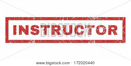Instructor text rubber seal stamp watermark. Caption inside rectangular shape with grunge design and dust texture. Horizontal vector red ink sign on a white background.