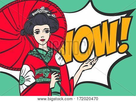 geisha. Japanese Woman. Pop art style wow eps 10
