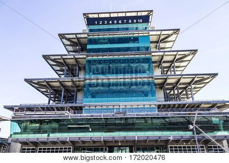 Indianapolis - Circa February 2017: The Panasonic Pagoda At Indianapolis Motor Speedway. Ims Prepare