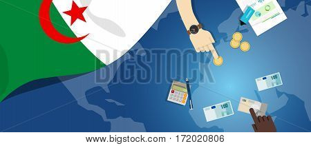 Algeria economy fiscal money trade concept illustration of financial banking budget with flag map and currency vector