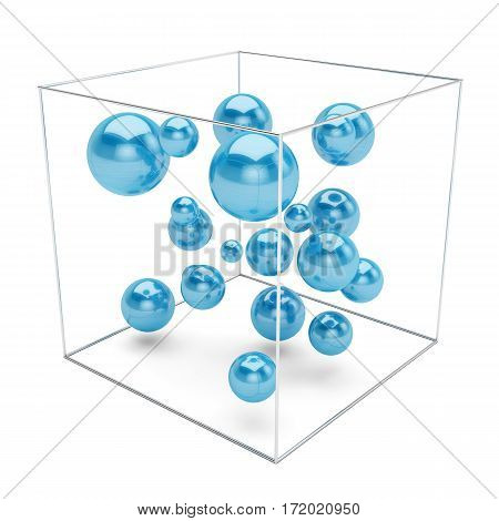 Abstract blue spheres in wire box isolated on white background. 3d rendering