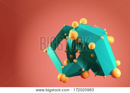 Abstract low poly polygonal shape with orange spheres on dark orange background
