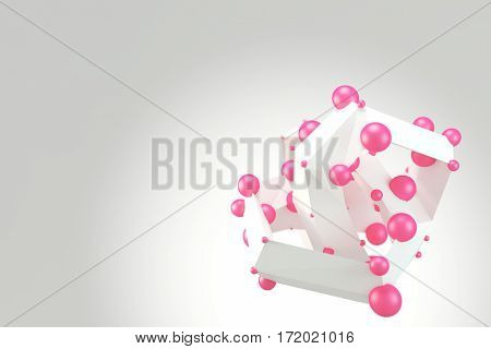 Abstract low poly polygonal shape with pink spheres on bright background